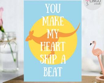 Australia Kangaroo Anniversary Greeting Card | Wife Husband Girlfriend Boyfriend | Love Greetings card Personalised By Flamingo Lingo(AU2)