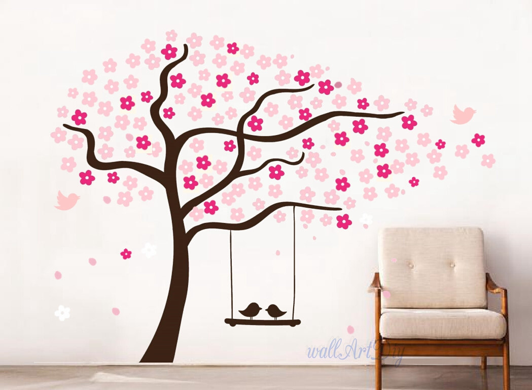 arbre mural stickers p pini re cerise pochoirs rose wall. Black Bedroom Furniture Sets. Home Design Ideas