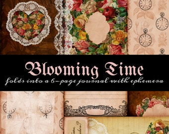 One Page Journal - Blooming Time 3 - great for junk journals, hybrid journals or mini albums