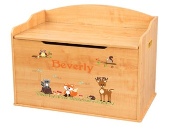Personalized Coral Forest Animals Natural Toy Box Bench