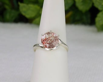 Lepidocrosite Ring, Size 7, Sterling Silver, Red Glitter, Sparkling Clarity
