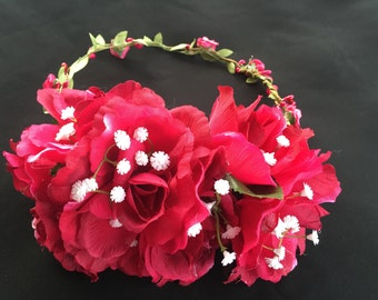 RACHELLE - Deep Red Flower Crown