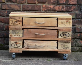 Industrial pallet 3 dresser drawer