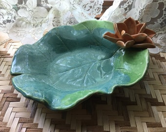 Lily Pad Serving Bowl Soft Orange Lotus Sculpture