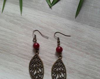 earrings, bronze and Red