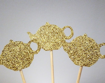24 Gold Teapot Cupcake Toppers,Wedding,Tea Party,Fairy Party,Bridal Shower,Anniversary,Birthday,Princess Party