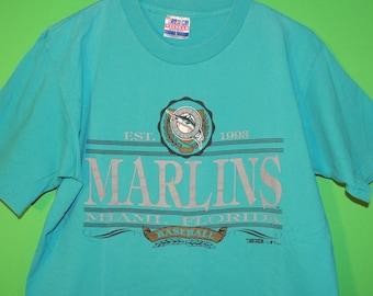 VTG 1992 Florida Marlins Trench Men's Size L Large MLB Baseball Crewneck T Shirt