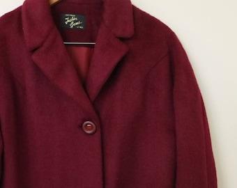 1950s vintage maroon ladies coat