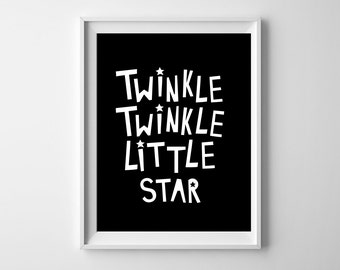 Twinkle twinkle little star art print, typography baby print, gender neutral, scandinavian, nursery decor, nursery wall art