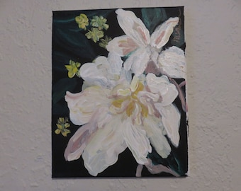 Original Acrylic painting on canvas  White Flowers
