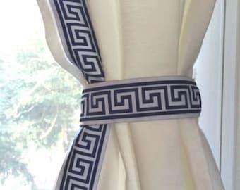 Navy Blue and White Trim Greek Key Curtain