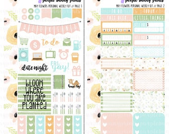 May Flowers PERSONAL Weekly Kit // Sized for the SMC Inserts // Planner Stickers!