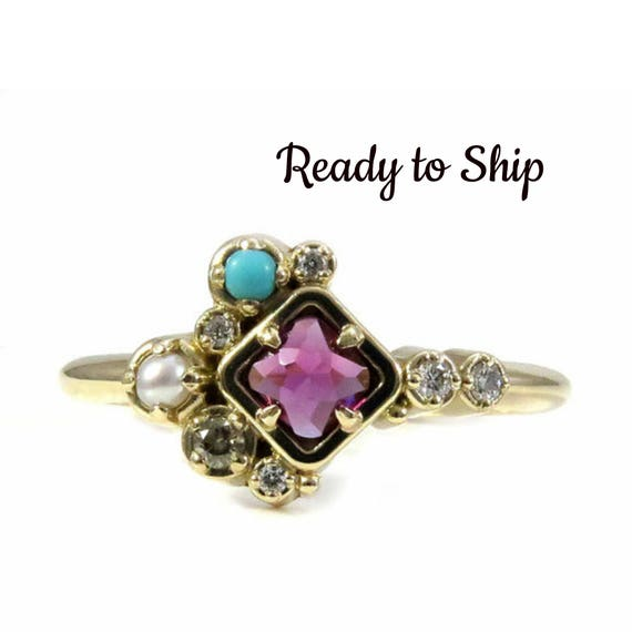 Ready to Ship Size 6.5 - 8.5 Rhodolite Garnet, Turquoise and Pearl Cluster Ring with Champagne and White Diamonds - 14k Yellow Gold