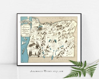 OREGON MAP PRINT - lovely pictorial map to frame - 3 sizes & 16 color choices - may be personalized - excellent gift idea for many occasions