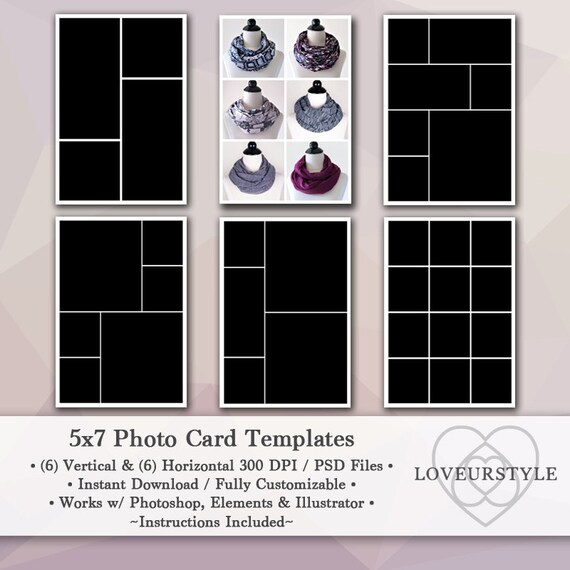 5x7 Photo Template Pack 12 Templates Photo Collage Photo