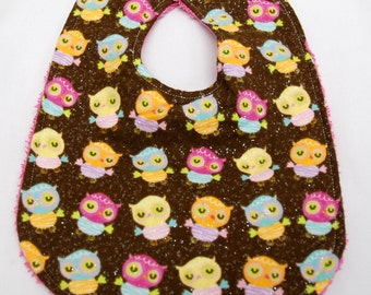 Baby Girl Bib, 0-3 Month Size, Baby Shower Gift, Welcome Baby Gift:  Sparkling Colorful Owls on Brown