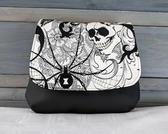 Black and White Goth, Skull and Black Widow Spider KELSI II Cross Body Purse Mini Messenger