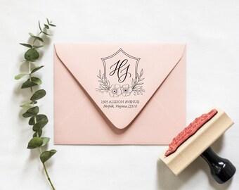 Floral Crest Return Address Stamp   RSVP address stamp, Wedding return address stamp, New home owner gift