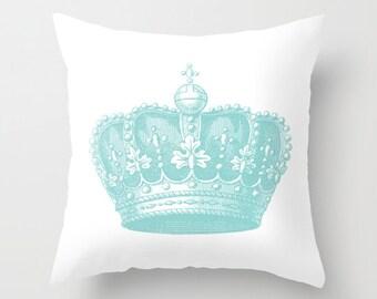 Royal Crown Pillow  - Vintage Crown Throw Pillow - Crown Novelty Pillow - Crown Decor - Blue and White Pillow - Aldari Home