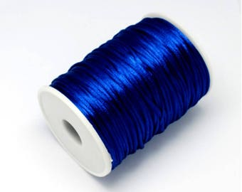 20-25 Meters Cobalt Blue 2mm Rattail Satin Nylon Cord Kumihimo Shamballa - Various Colour