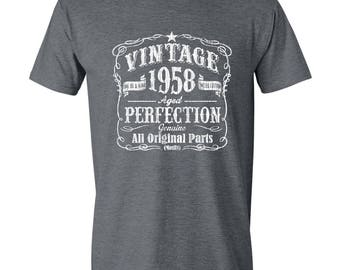 60th Birthday Gift For Men and Women, Vintage 1958, Aged Perfection, Mostly Original Parts, T-shirt Gift idea. Made in 1958, GRAY, 1958