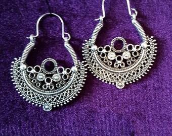 Bohemian Grove Hoop Earrings - bohemian boho goth ankh indian ethnic neo romantic