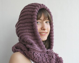 Violet Wool Hooded  Chunky Infinity LOOP Scarf  Cowl Mothers Day gift Under USD100
