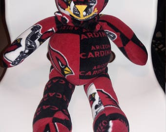 Sports Bear gift for Tailgate party, Man Cave, Birthday, Valentines Day gift.  NFL Cardinals,  Red Black Yellow fleece by Vintage Angel