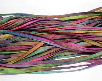"5PC. MARDI GRAS 2MM Hand Dyed Silk Jewelry Cord//5PC. Hand Dyed Silk Cording 1/8"" X 36""//Hand Dyed Silk Jewelry Bracelet/Necklace Cording"
