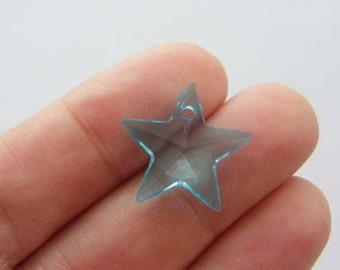 200 Star charms blue acrylic