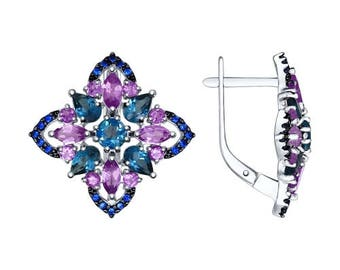 925 Multi-Stone Silver Earrings with Amethyst, Cubic Zirconia and Topaz Russian Jewelry For Women