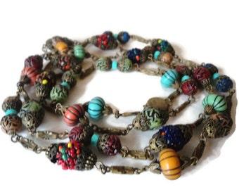 1920's Oriental Czech Glass Bead Flapper Necklace Gorgeous
