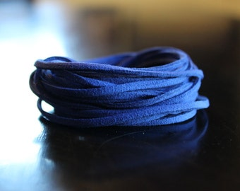 5 yds faux suede cord, blue, about 3 mm wide, 15 ft, great for necklaces and wrap bracelets