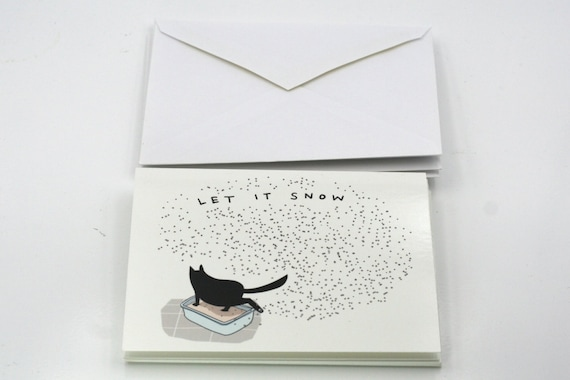 Christmas cards 5 cards funny cat cards black cat greeting cards funny holiday cards holiday cards secular holiday cards