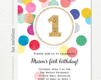 first birthday invitation, rainbow gold glitter one girls 1st birthday party invite, confetti customized printable digital invitation