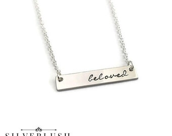 Sterling Silver Horizontal Hand Stamped Tag necklace - one word - my one word jewelry