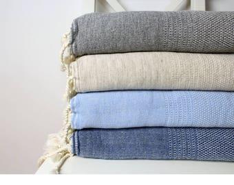 Soft Wool Throw Blanket | Merino Wool Sofa Throw | Bohemian Woolen Blanket | Warm Winter Blanket Luxurious Quality Wool Coverlet | Gift Idea