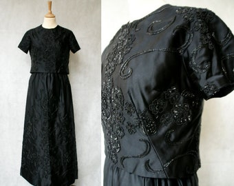 "Intricately Beaded Black Silk Gown from ""Molstad"""