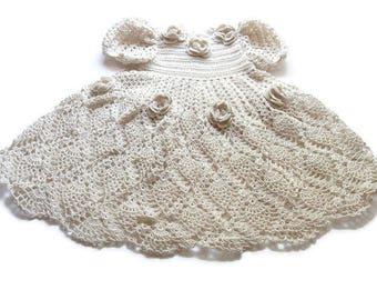 Off White Baby girl Crochet Lace Dress Newborn Preemie Reborn doll Handmade dress