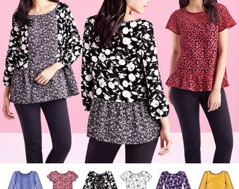 Pullover Tops Pattern, Peplum Blouse Pattern, Lace Overtop Pattern,  Simplicity Sewing Pattern 8417