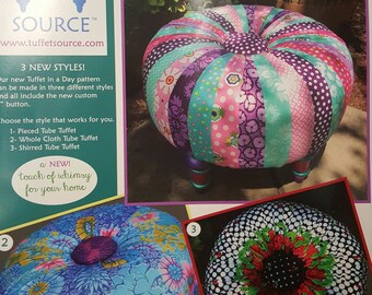 """NEW Tuffet in a Day pattern by Tuffet Source with Printed Fabric Foundation and 4"""" button to cover"""