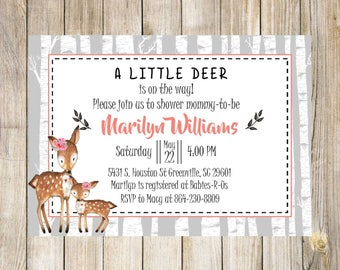 Woodland Girl Baby Shower Invitation, Deer, Fox