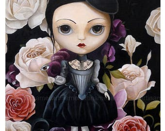 Pop surrealism art, Rose in garden, Girl portrait, low brow, magical art, big eyed, girl wall decor, black queer art fairytale by inameliart