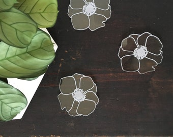 Floral Coasters // Translucent Anemone Flower Coaster Set // Laser Cut Acrylic // Clear Coaster // Hostess Gift
