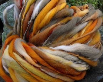 Handspun art yarn, super bulky handpainted hand dyed wool yarn thick and thin-October