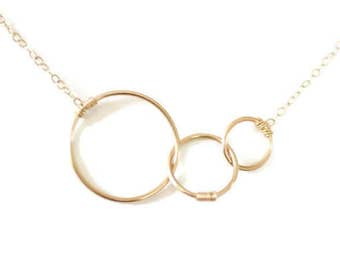 gold circles necklace, three, mothers necklace, expectant mother, simple, bridesmaids gift, delicate, N116
