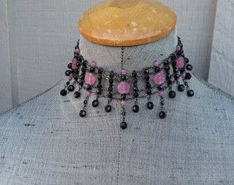 Pink and Jet Black Flower Czech Crystal Fringe Choker Necklace Earrings Drama Statement Wedding Bride Bridal Maid Honor Jewelry Jewellery