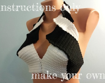 INSTRUCTIONS ONLY - Crochet your own Black and White Cotton Halter Bikini Top Beach Festival Burning Man Pattern Download