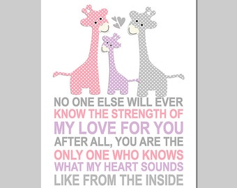 Pink, purple and grey giraffe wall art print -UNFRAMED- baby girl nursery art,  typography, No one else will ever, quote,  giraffe family