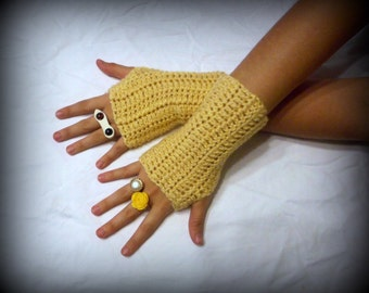 Fingerless Gloves Golden delicious Apple Yellow gold Handmade Crocheted Arm Warmers Fingerless Texting Gloves Handmade Mitten Crochet simple